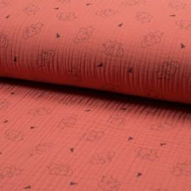 Tissu triple gaze de coton Éléphant - corail x 10cm