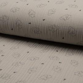 Tissu triple gaze de coton Éléphant - sable x 10cm