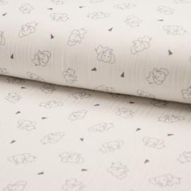 Tissu triple gaze de coton Éléphant - écru x 10cm