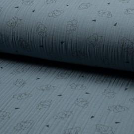 Triple gauze fabric - blue Éléphant x 10cm