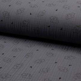 Tissu triple gaze de coton Éléphant - gris x 10cm