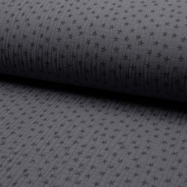 Triple gauze fabric - grey Star x 10cm