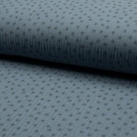 Tissu triple gaze de coton Star - bleuet x 10cm