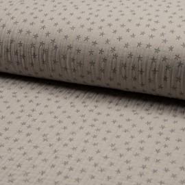 Triple gauze fabric - sand Star x 10cm