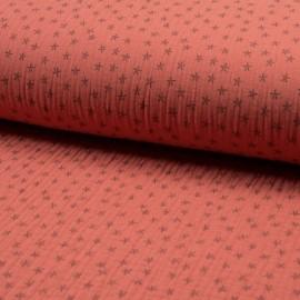 Tissu triple gaze de coton Star - corail x 10cm