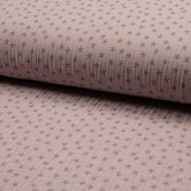 Tissu triple gaze de coton Star - rose pâle x 10cm