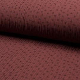 Tissu triple gaze de coton Star - brique x 10cm