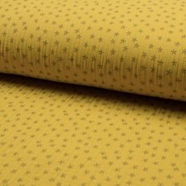 Tissu triple gaze de coton Star - jaune x 10cm