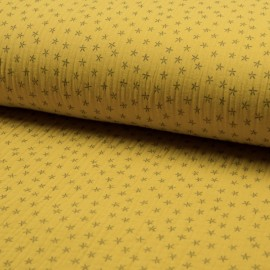 Triple gauze fabric - yellow Star x 10cm