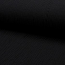 Plain Triple gauze fabric - black Lovely x 10cm