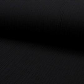 Tissu triple gaze de coton uni Lovely - noir x 10cm