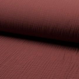 Tissu triple gaze de coton uni Lovely - brique x 10cm