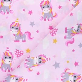 Cretonne cotton fabric - pink Lisou x 10cm