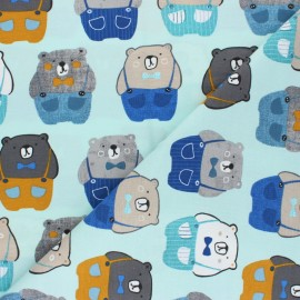 Tissu jersey Oursinet - bleu  x 10cm