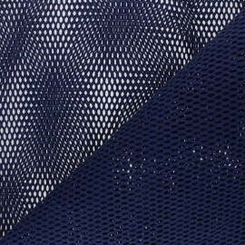 Tissu filet coton bio - bleu marine x 10cm