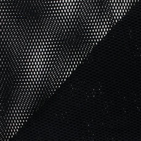Tissu filet coton bio - noir x 10cm