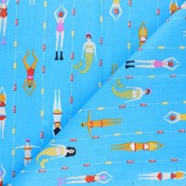 Tissu coton cretonne Piscine - bleu x 10cm