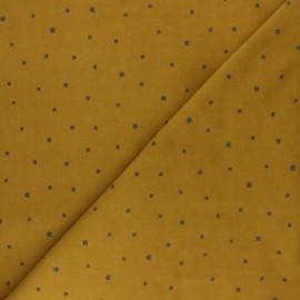 Tissu velours milleraies Kokka Étoile - jaune moutarde x 10cm