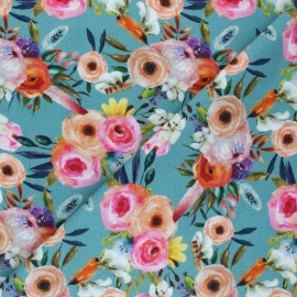 Stenzo French terry cotton fabric - blue Flowery x 10cm