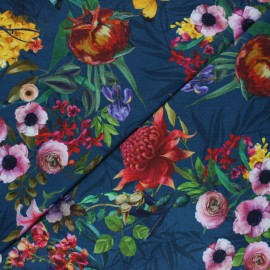 Stenzo jersey cotton fabric - blue Luciana x 10cm