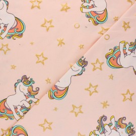 Cotton Jersey fabric - powder pink Rainbow unicorn x 10cm