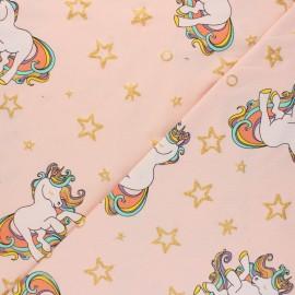Tissu jersey Rainbow unicorn - Rose poudré x 10cm
