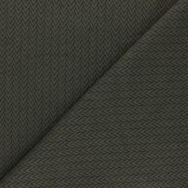 Tissu maille jersey Chevrons - Kaki x10cm