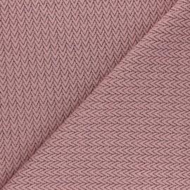 Tissu maille jersey Chevrons - Rose pâle x10cm
