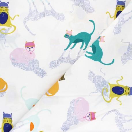 Tissu coton AGF Oh Meow ! - Kitten around x 10cm