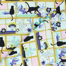 AGF Cotton fabric - Oh Meow !  Purrrlandia x 10cm