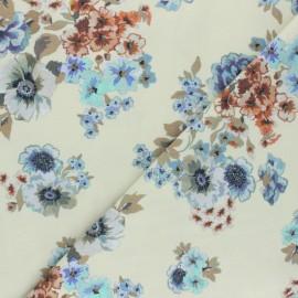 Tissu Twill Viscose Floraison - crème x 10cm