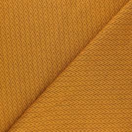 Tissu maille jersey Chevrons - Jaune moutarde x10cm