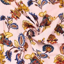 Tissu crépon de viscose Jolie flore - rose x 10cm