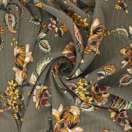 Tissu crépon de viscose Jolie flore - vert kaki x 10cm