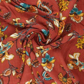 Lurex crinkle viscose fabric - terracotta Jolie flore x 10cm