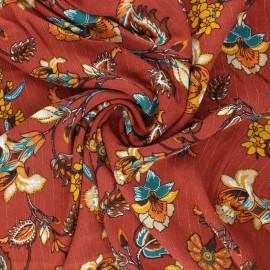 Tissu crépon de viscose Jolie flore - terracotta x 10cm