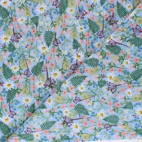 Tissu coton Rifle Paper co. Wildflowers - bleu x 10cm