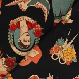Tissu toile de coton Alexander Henry Todo para ti - noir x 10cm