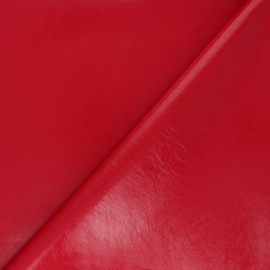 Satin lined imitation leather fabric - red Tina x 10cm