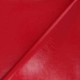 Tissu Simili cuir envers satin Tina - rouge x 10cm