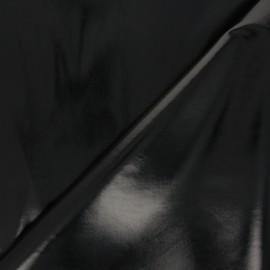 Satin lined imitation leather fabric - black Tina x 10cm