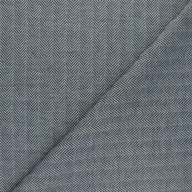 Tissu maille polyviscose Chevrons - blanc x 10cm