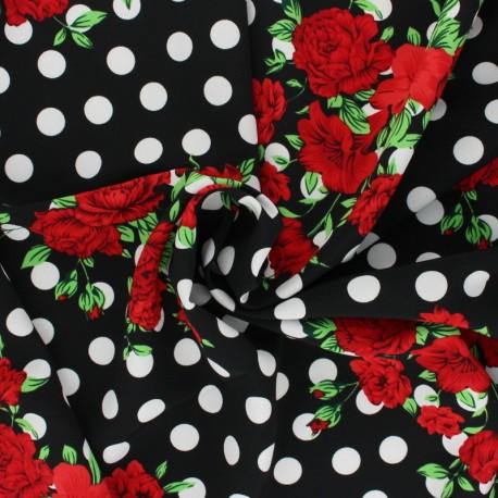 Tissu crêpe polyester Lola - noir x 10cm