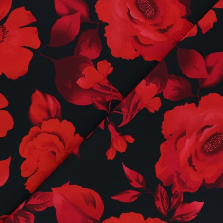 Tissu crêpe polyester Marta - rouge x 10cm