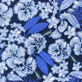 Tissu rayonne Caledonia - bleu x 10cm