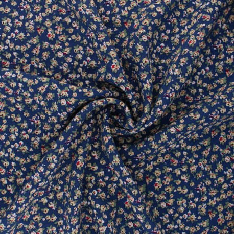 Tissu rayonne Belinda - bleu x 10cm