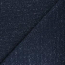 Tissu Mind the Maker Sweat moucheté - bleu marine x 10 cm