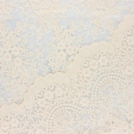 Scalloped embroidered tulle fabric - raw Éléonore x 10 cm