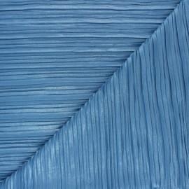 Tissu polyester plissé pailleté Florence - bleu x 10cm