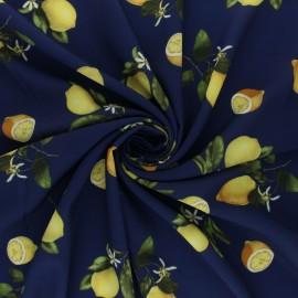 ♥ Coupon 350 cm X 140 cm ♥  Tissu crêpe élasthanne Menton - bleu marine